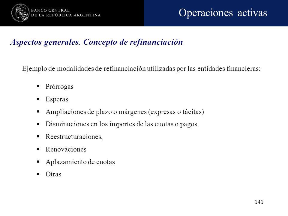 Operaciones activas 140 Aspectos generales. Concepto de refinanciación Se reafirma el principio de que toda asistencia financiera o refinanciación - c