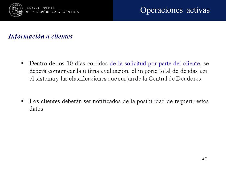 Operaciones activas 146 Días de atraso al momento de refinanciar Situación al momento de refinanciar Cantidad de cuotas que canceló de la deuda refina