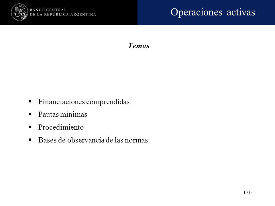 Operaciones activas 149 PREVISIONES MÍNIMAS POR RIESGO DE INCOBRABILIDAD
