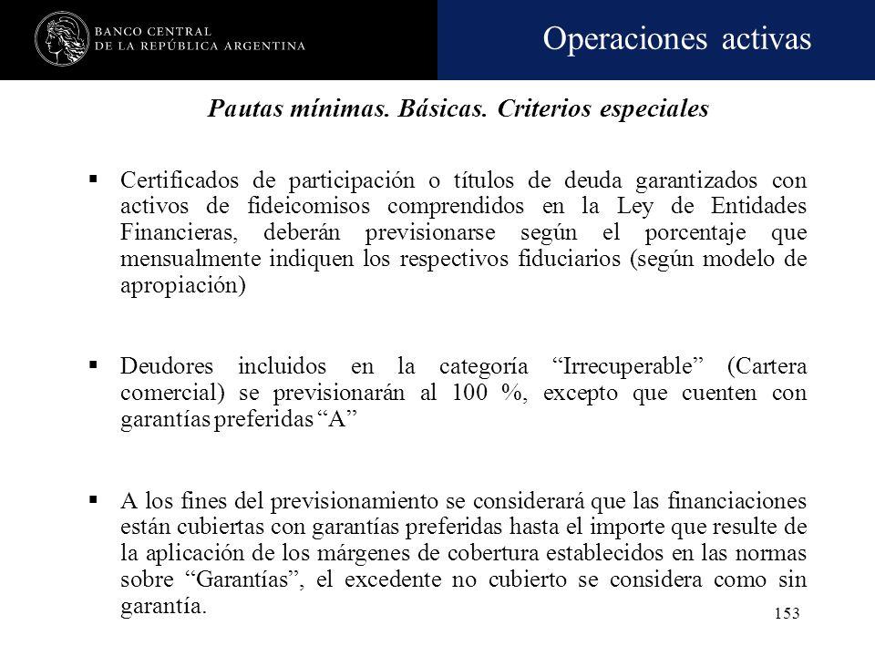 Operaciones activas 152 CategoríaCon gtías preferidas Sin gtías. preferidas 1. En situación y cumplimiento normal1% 2. a) En observación y cumplimient