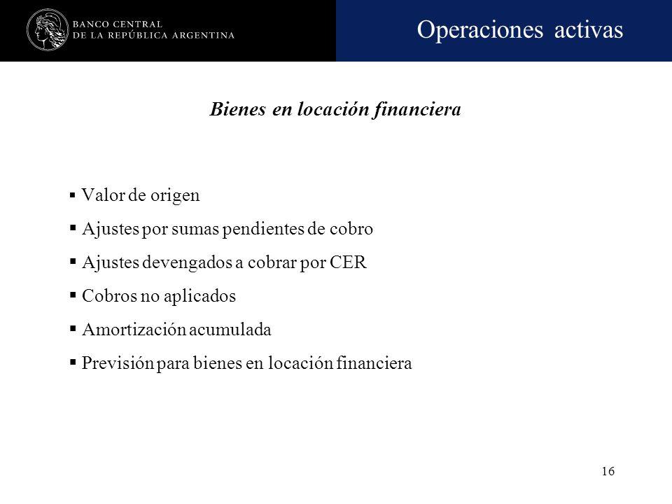 Operaciones activas 15 Bienes en locación financiera Comprende el valor de los bienes de capital (muebles e inmuebles) arrendados a terceros, especial