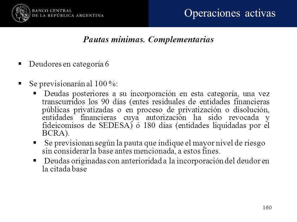 Operaciones activas 159 Al cabo del quinto año (60 meses) de permanencia en alguna de esas categorías, las financiaciones deberán ser previsionadas co