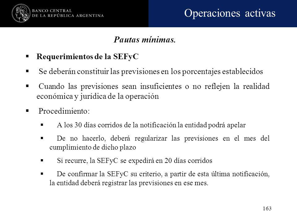 Operaciones activas 162 Previsiones superiores a las mínimas La entidad podrá previsionar por importes superiores a los mínimos, siempre que no supere