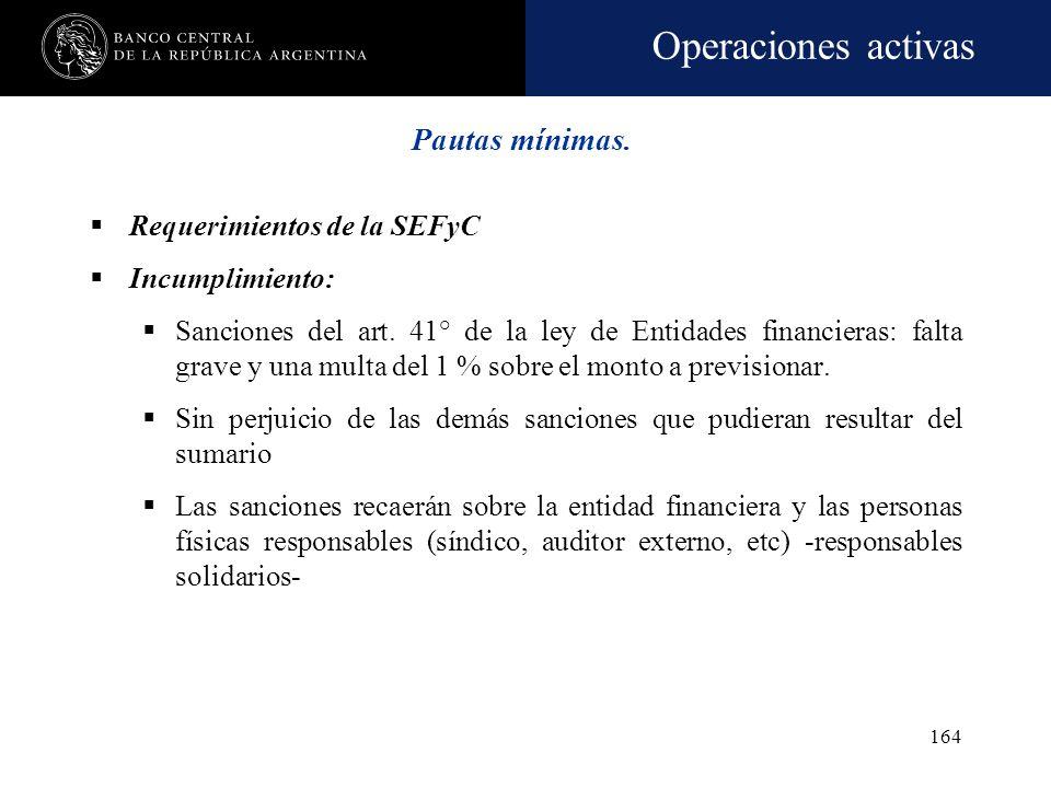 Operaciones activas 163 Requerimientos de la SEFyC Se deberán constituir las previsiones en los porcentajes establecidos Cuando las previsiones sean i