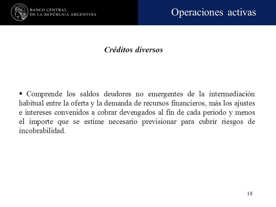 Operaciones activas 17 Participaciones en otras sociedades Comprende las tenencias de acciones y cuotas de capital de sociedades, de propiedad de la e