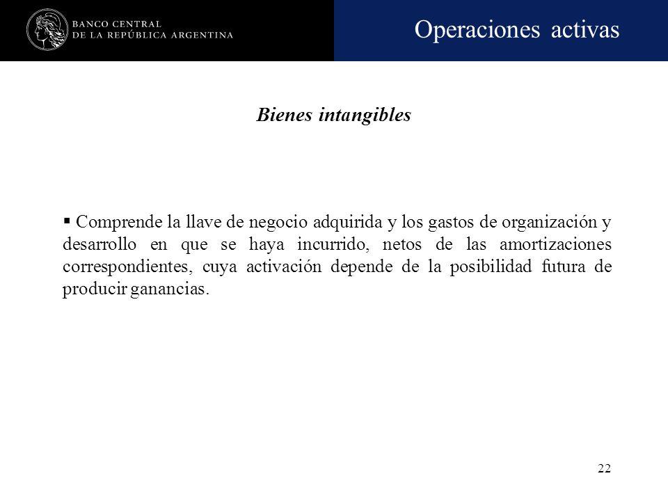 Operaciones activas 21 Bienes diversos Comprende los bienes tangibles de propiedad de la entidad no afectados a uso propio y los adquiridos para su ut
