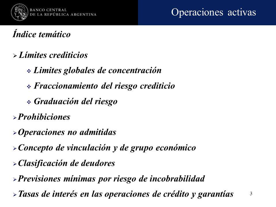 Operaciones activas 113 Tarea de clasificación Procedimientos de análisis de cartera focalizados en la situación económico–financiera del deudor y en todos los riesgos asumidos.