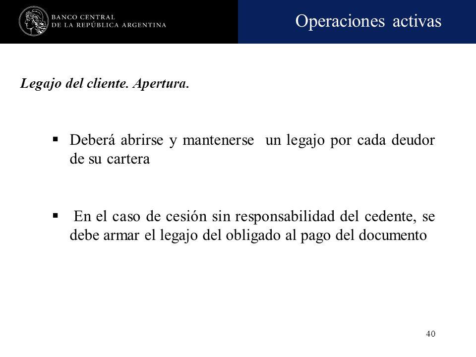 Operaciones activas 39 Unidad económica receptora de los fondos Titular de una garantía -responsabilidad eventual para la entidad- En ambos casos, deb