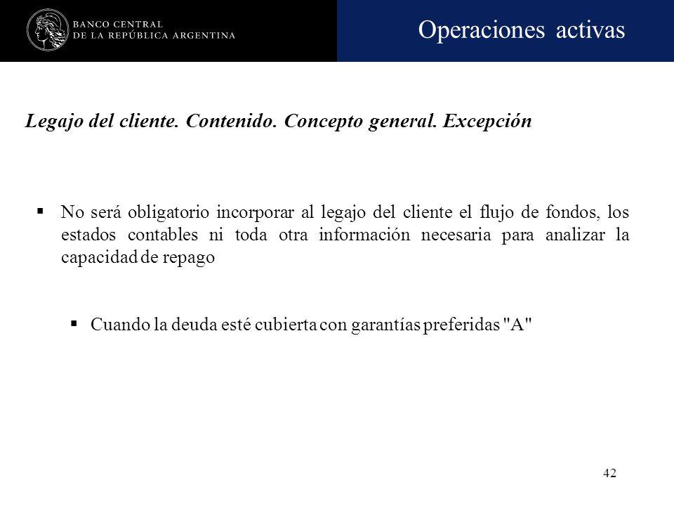 Operaciones activas 41 Legajo del cliente. Contenido general Elementos que posibiliten efectuar correctas evaluaciones sobre su situación financiera y