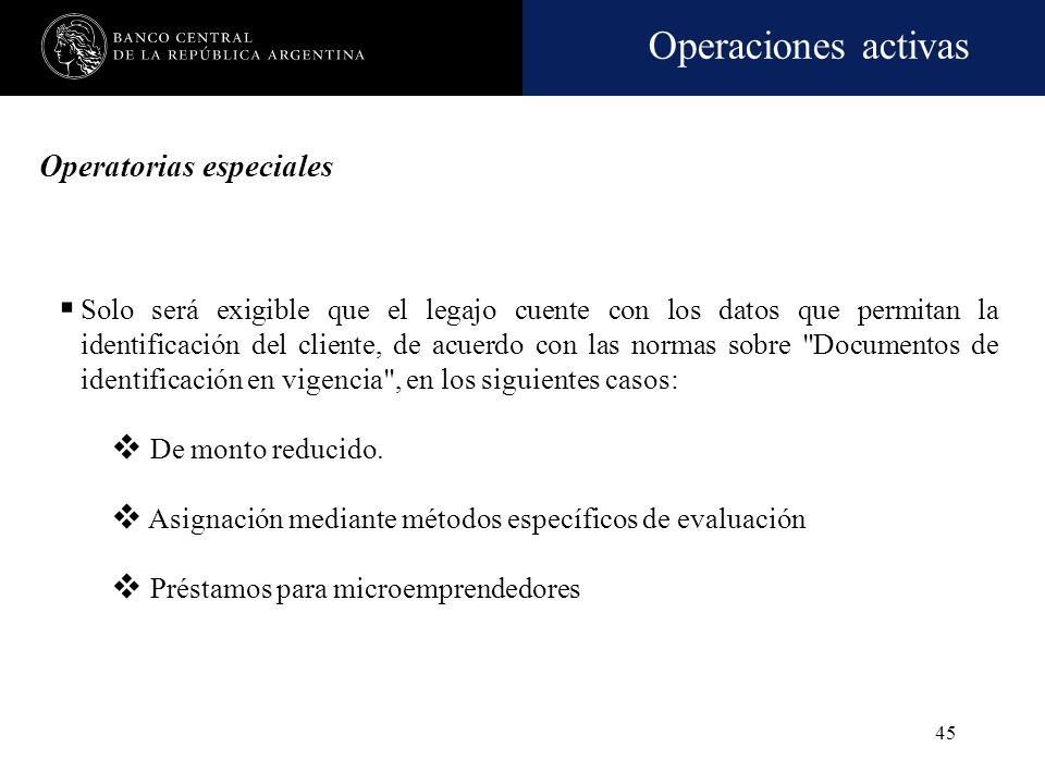 Operaciones activas 44 Operatorias especiales Créditos de monto reducido Credit Scoring y Screening y Préstamos para microemprendedores