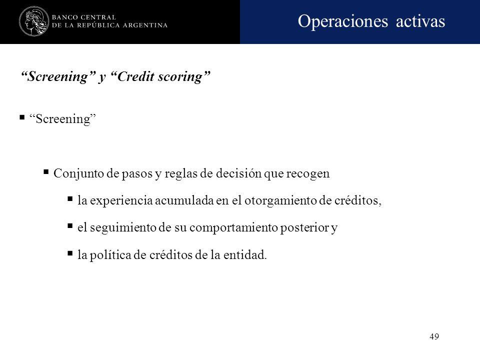 Operaciones activas 48 Se flexibiliza la originación de financiaciones, admitiendo la utilización del método de screening para decidir sobre el otorga