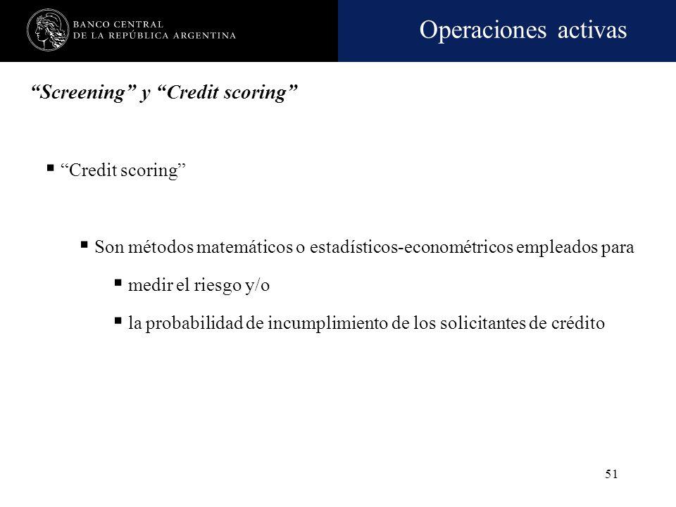 Operaciones activas 50 Screening Este método deberá aplicarse de forma sistemática y actualizarse de manera periódica, a fin de extraer conclusiones e
