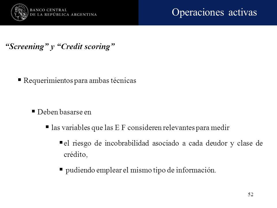 Operaciones activas 51 Credit scoring Son métodos matemáticos o estadísticos-econométricos empleados para medir el riesgo y/o la probabilidad de incum