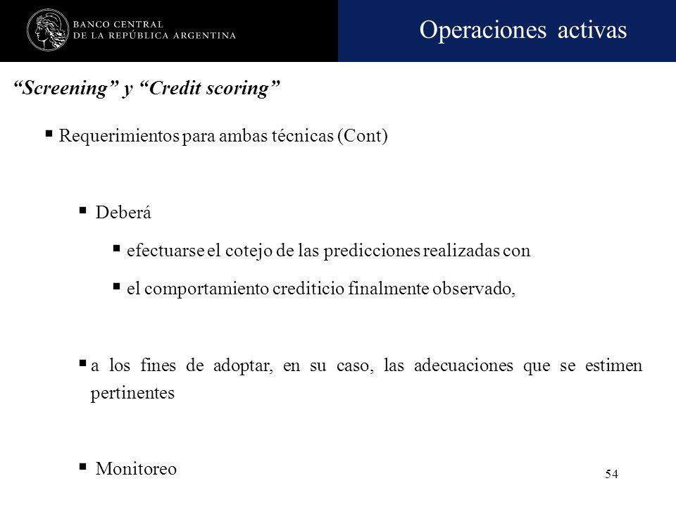 Operaciones activas 53 Requerimientos para ambas técnicas (Cont) La metodología e información que se empleen para sustituir la demostración de ingreso