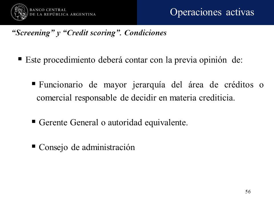 Operaciones activas 55 Prestatarios alcanzados Personas físicas no vinculadas a la entidad financiera Límite individual Screening y Credit scoring. Co