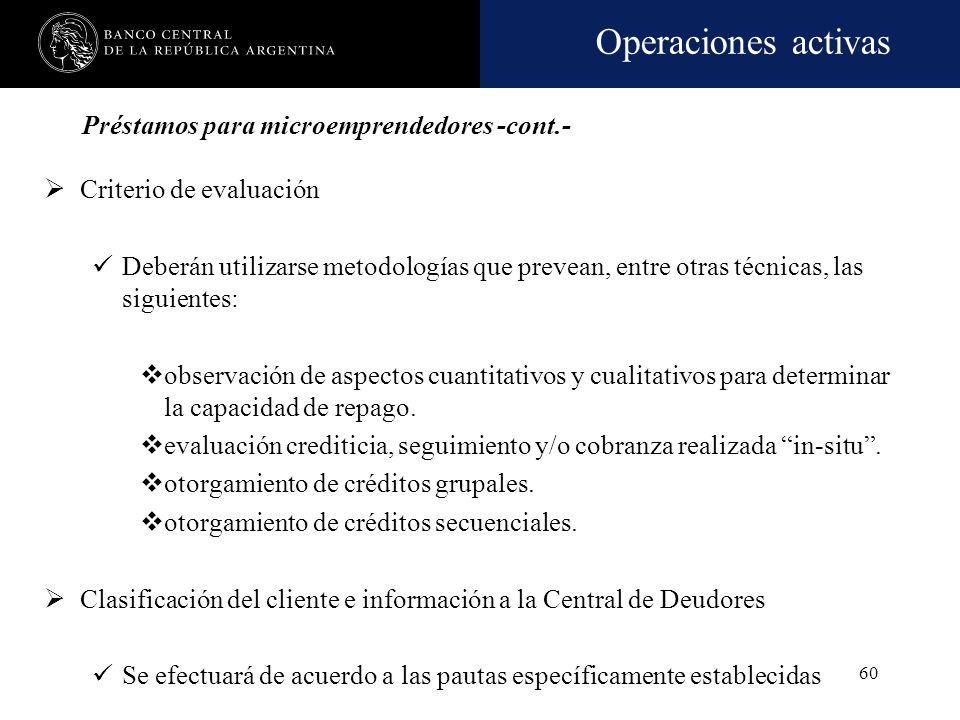 Operaciones activas 59 Préstamos para microemprendedores -cont.- Originación de los créditos Podrán otorgarse en forma directa al demandante del crédi