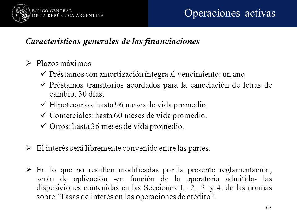 Operaciones activas 62 Características generales de las financiaciones Deberán efectuarse en pesos. Al cierre de cada mes se deberá verificar: El tota
