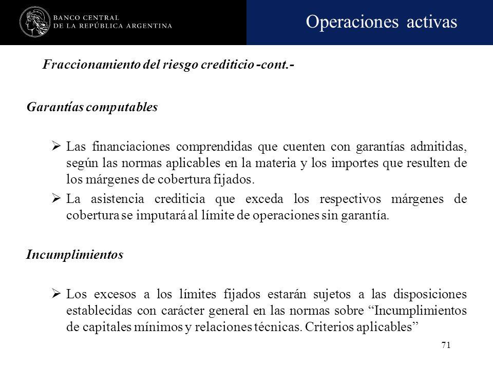 Operaciones activas 70 Fraccionamiento del riesgo crediticio -cont.- Exclusiones Los créditos con el BCRA, cualquiera sea la modalidad de la operación