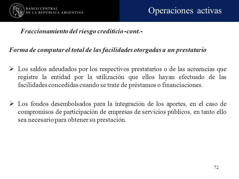 Operaciones activas 71 Fraccionamiento del riesgo crediticio -cont.- Garantías computables Las financiaciones comprendidas que cuenten con garantías a
