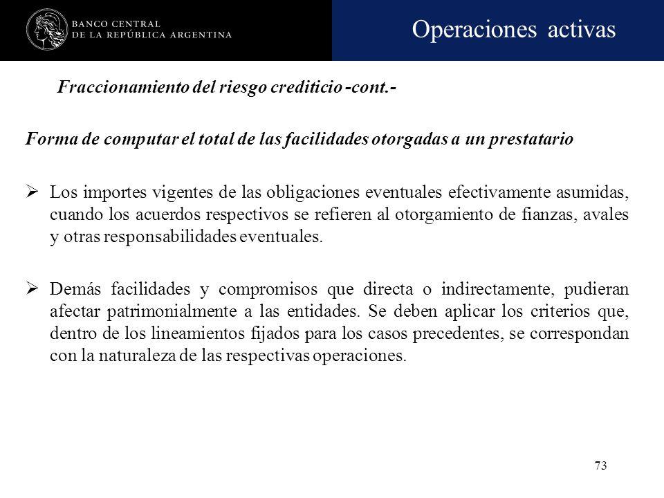 Operaciones activas 72 Fraccionamiento del riesgo crediticio -cont.- Forma de computar el total de las facilidades otorgadas a un prestatario Los sald