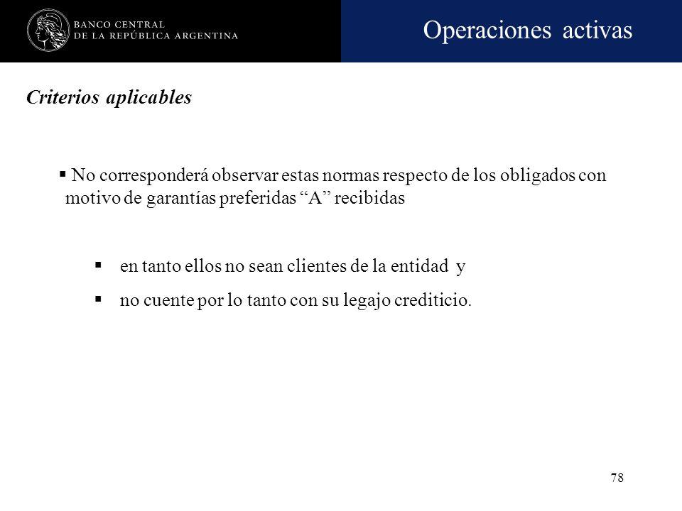 Operaciones activas 77 Criterios aplicables Deberán aplicarse los criterios establecidos en las normas sobre Fraccionamiento de riesgo crediticio Exce