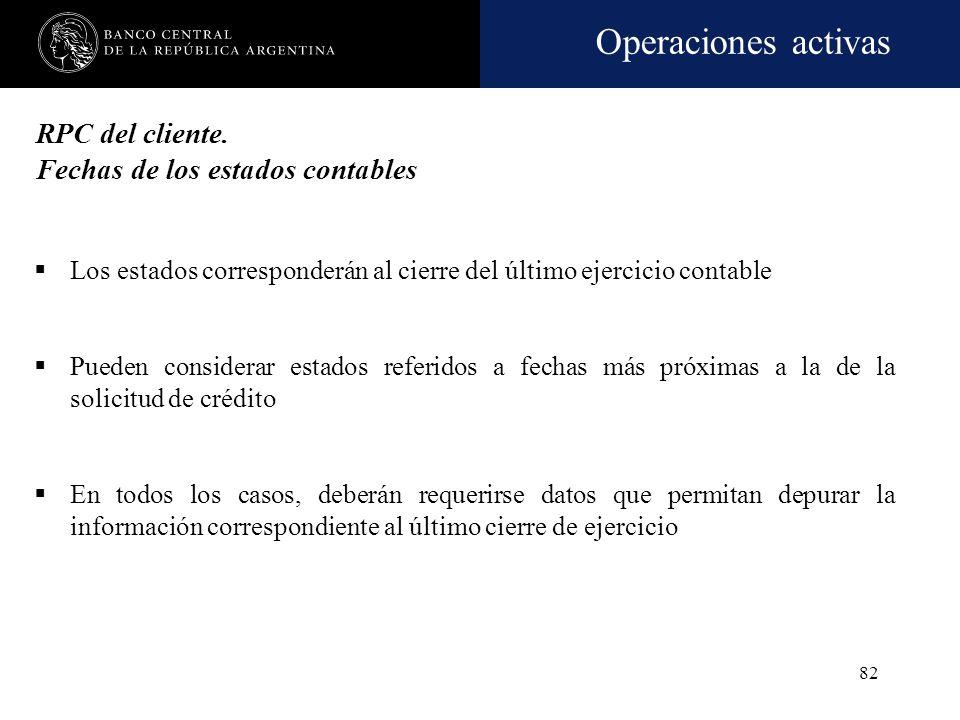 Operaciones activas 81 RPC del cliente. Fuente Clientes que llevan contabilidad (s/exigencias legales) Se computará el capital, reservas y resultados