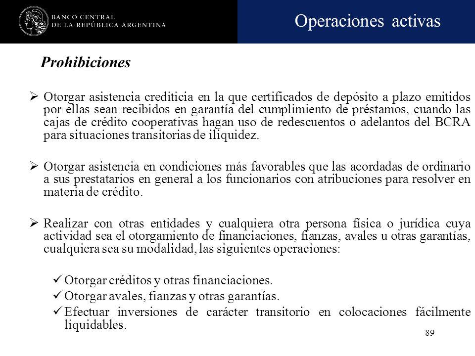 Operaciones activas 88 Créditos que cuenten con las garantías preferidas, que reúnan las siguientes condiciones: Los destinos indicados a continuación