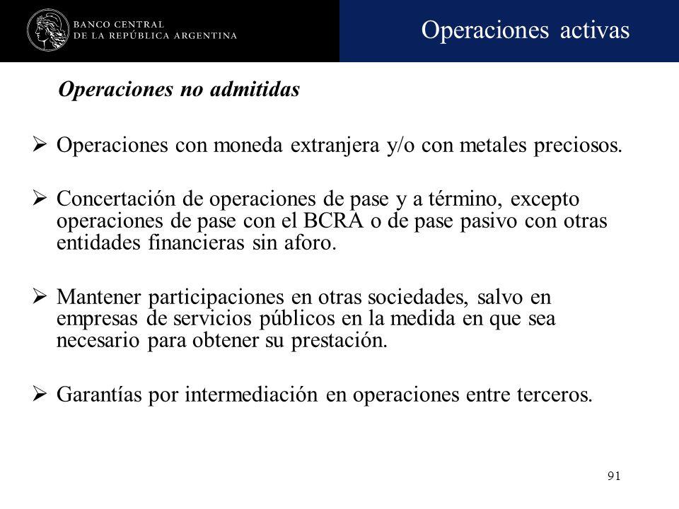 Operaciones activas 90 Prohibiciones Financiar al sector público nacional, provincial o municipal, incluidas las empresas y demás entes relacionados.