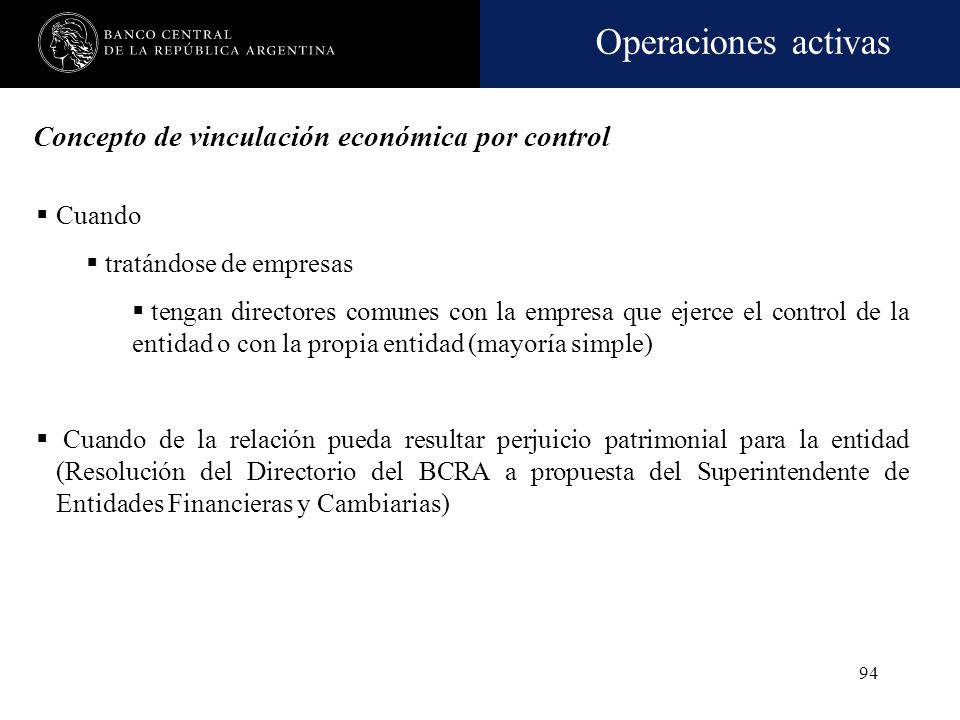 Operaciones activas 93 Cualquier empresa o persona, que directa o indirectamente ejerza el control o es controlada por quien o quienes ejercen el cont
