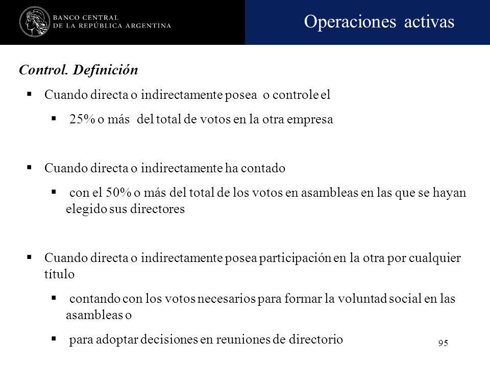 Operaciones activas 94 Concepto de vinculación económica por control Cuando tratándose de empresas tengan directores comunes con la empresa que ejerce