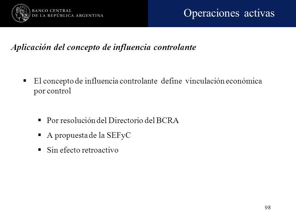 Operaciones activas 97 Influencia controlante. Pautas. Enunciación no taxativa Operaciones importantes con las vinculadas Intercambio de personal Depe