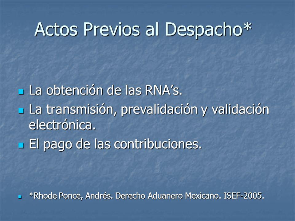 Actos Previos al Despacho* La obtención de las RNAs. La obtención de las RNAs. La transmisión, prevalidación y validación electrónica. La transmisión,