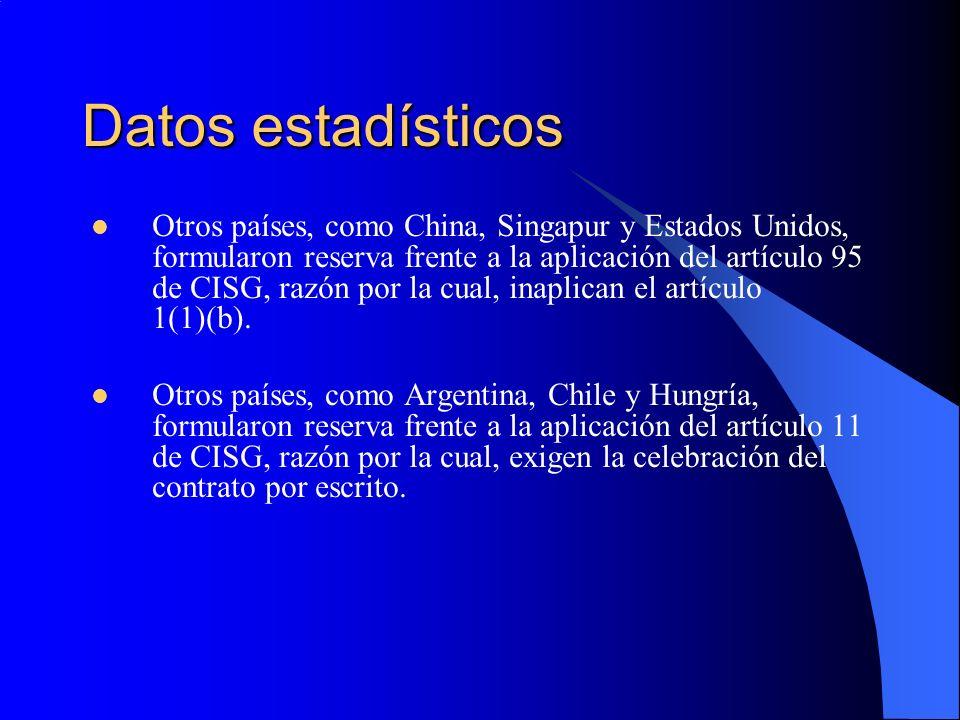 Datos estadísticos Otros países, como China, Singapur y Estados Unidos, formularon reserva frente a la aplicación del artículo 95 de CISG, razón por la cual, inaplican el artículo 1(1)(b).