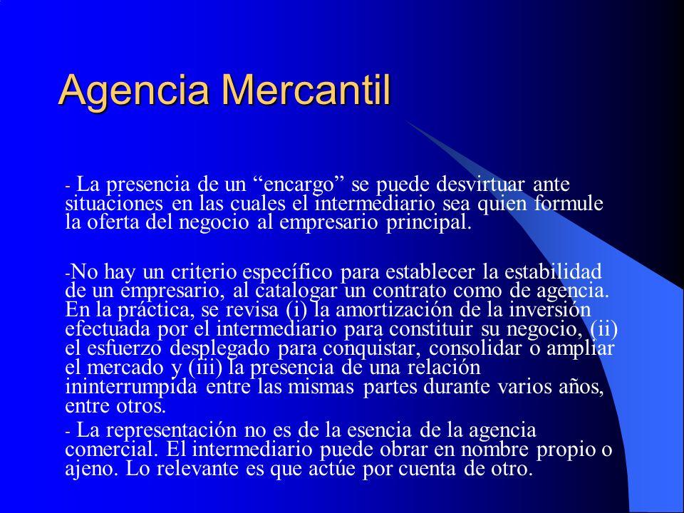 Agencia Mercantil - La presencia de un encargo se puede desvirtuar ante situaciones en las cuales el intermediario sea quien formule la oferta del negocio al empresario principal.