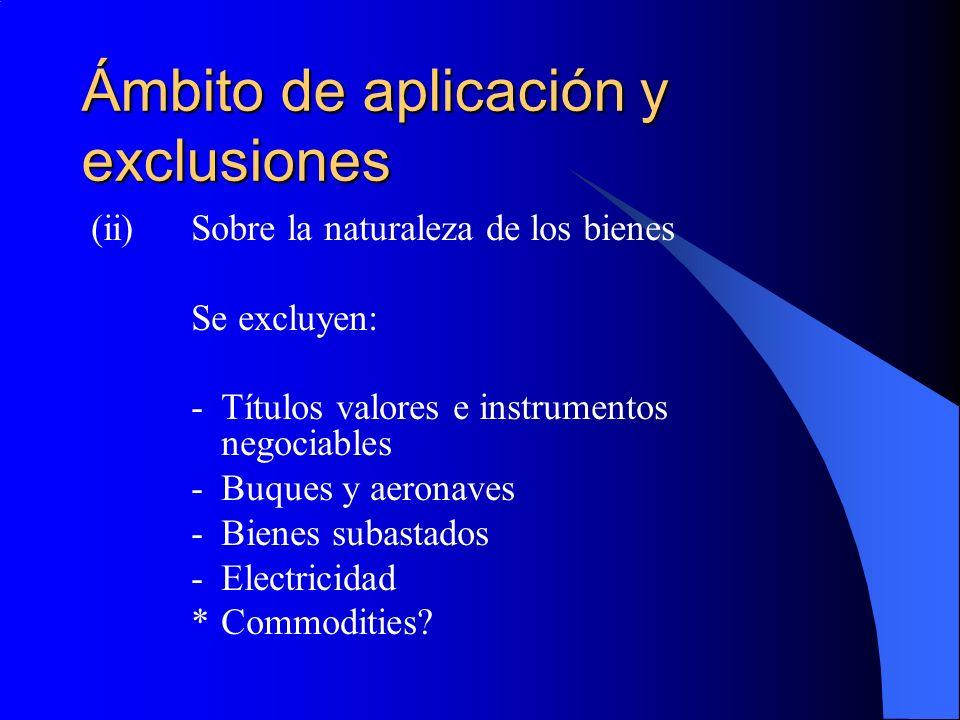 Ámbito de aplicación y exclusiones (ii)Sobre la naturaleza de los bienes Se excluyen: -Títulos valores e instrumentos negociables -Buques y aeronaves -Bienes subastados -Electricidad *Commodities?