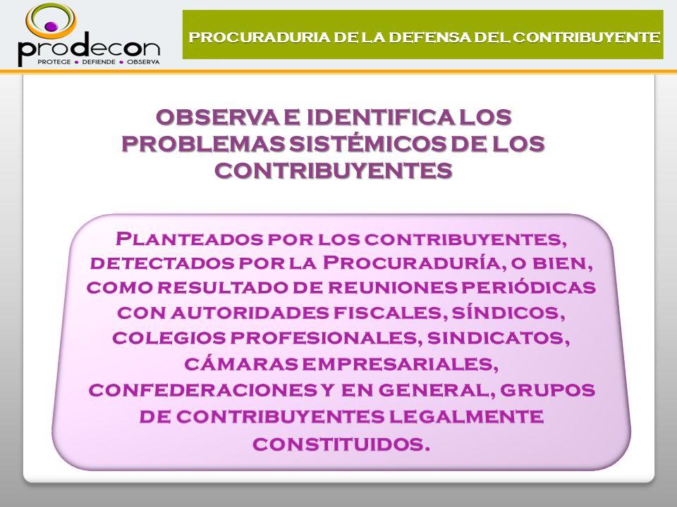 PROCURADURIA DE LA DEFENSA DEL CONTRIBUYENTE OBSERVA E IDENTIFICA LOS PROBLEMAS SISTÉMICOS DE LOS CONTRIBUYENTES