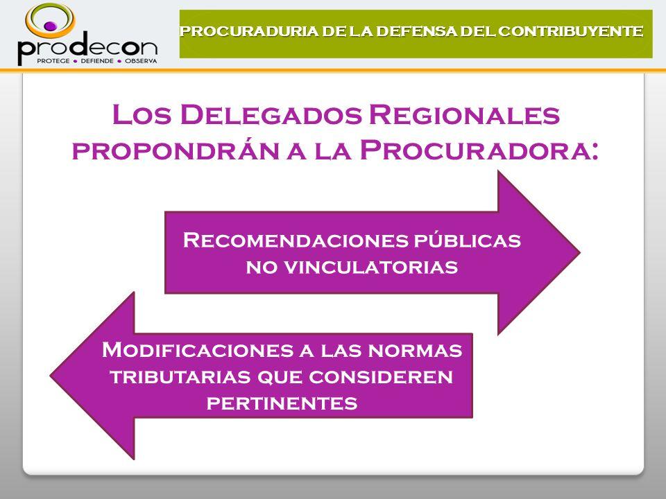 Los Delegados Regionales propondrán a la Procuradora: Recomendaciones públicas no vinculatorias Modificaciones a las normas tributarias que consideren pertinentes PROCURADURIA DE LA DEFENSA DEL CONTRIBUYENTE