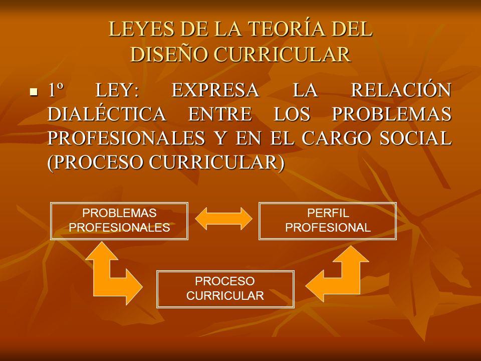 LEYES DE LA TEORÍA DEL DISEÑO CURRICULAR 1º LEY: EXPRESA LA RELACIÓN DIALÉCTICA ENTRE LOS PROBLEMAS PROFESIONALES Y EN EL CARGO SOCIAL (PROCESO CURRICULAR) 1º LEY: EXPRESA LA RELACIÓN DIALÉCTICA ENTRE LOS PROBLEMAS PROFESIONALES Y EN EL CARGO SOCIAL (PROCESO CURRICULAR) PROBLEMAS PROFESIONALES PERFIL PROFESIONAL PROCESO CURRICULAR