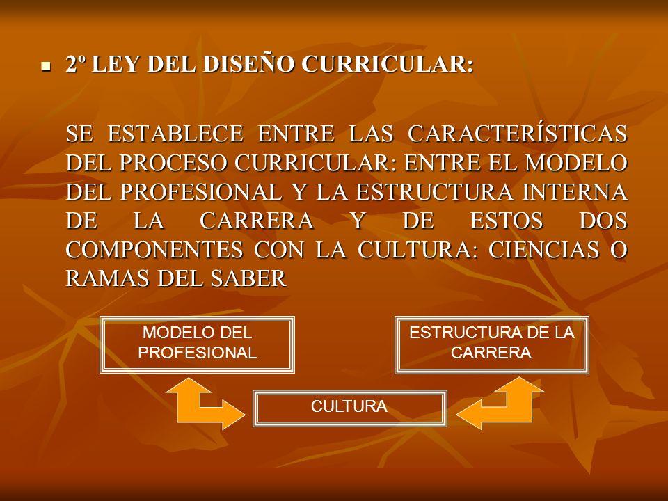 2º LEY DEL DISEÑO CURRICULAR: 2º LEY DEL DISEÑO CURRICULAR: SE ESTABLECE ENTRE LAS CARACTERÍSTICAS DEL PROCESO CURRICULAR: ENTRE EL MODELO DEL PROFESIONAL Y LA ESTRUCTURA INTERNA DE LA CARRERA Y DE ESTOS DOS COMPONENTES CON LA CULTURA: CIENCIAS O RAMAS DEL SABER MODELO DEL PROFESIONAL ESTRUCTURA DE LA CARRERA CULTURA