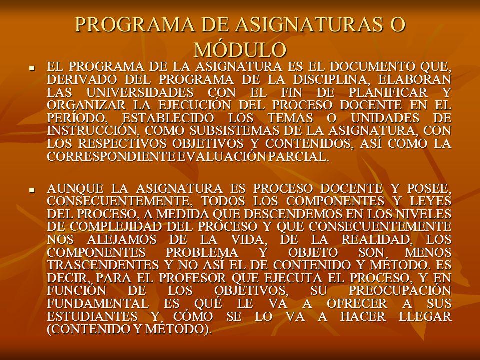 PROGRAMA DE ASIGNATURAS O MÓDULO EL PROGRAMA DE LA ASIGNATURA ES EL DOCUMENTO QUE, DERIVADO DEL PROGRAMA DE LA DISCIPLINA, ELABORAN LAS UNIVERSIDADES CON EL FIN DE PLANIFICAR Y ORGANIZAR LA EJECUCIÓN DEL PROCESO DOCENTE EN EL PERÍODO, ESTABLECIDO LOS TEMAS O UNIDADES DE INSTRUCCIÓN, COMO SUBSISTEMAS DE LA ASIGNATURA, CON LOS RESPECTIVOS OBJETIVOS Y CONTENIDOS, ASÍ COMO LA CORRESPONDIENTE EVALUACIÓN PARCIAL.