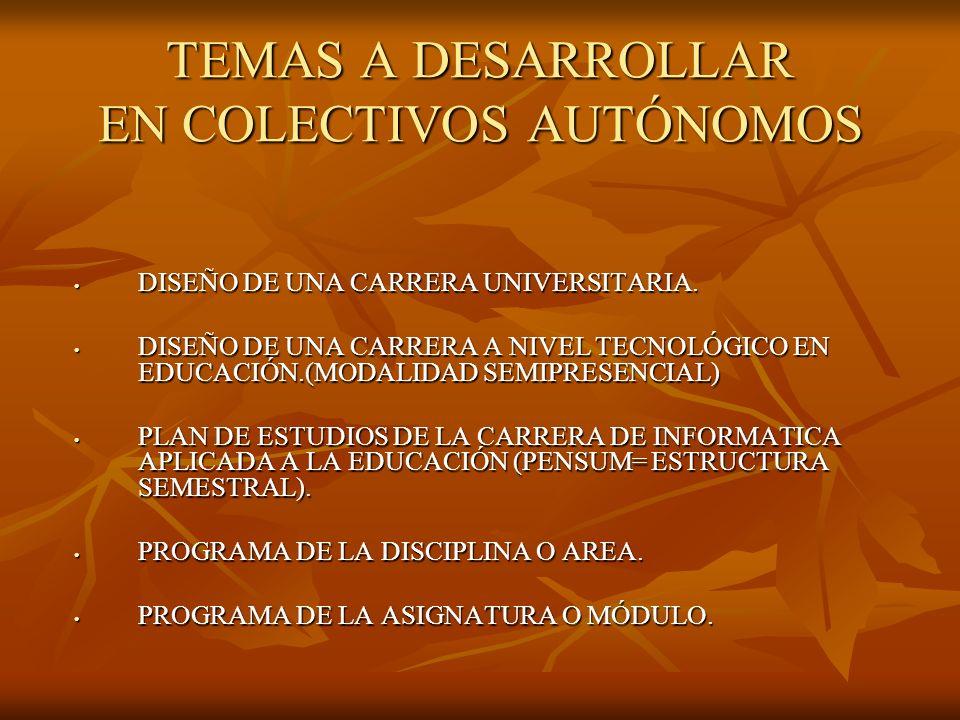 TEMAS A DESARROLLAR EN COLECTIVOS AUTÓNOMOS DISEÑO DE UNA CARRERA UNIVERSITARIA.
