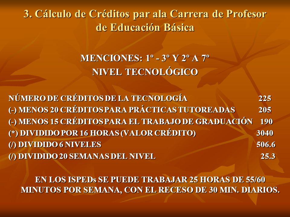 3. Cálculo de Créditos par ala Carrera de Profesor de Educación Básica MENCIONES: 1º - 3º Y 2º A 7º NIVEL TECNOLÓGICO NÚMERO DE CRÉDITOS DE LA TECNOLO