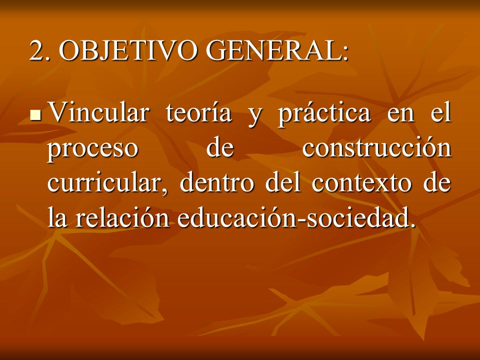 2. OBJETIVO GENERAL: Vincular teoría y práctica en el proceso de construcción curricular, dentro del contexto de la relación educación-sociedad. Vincu