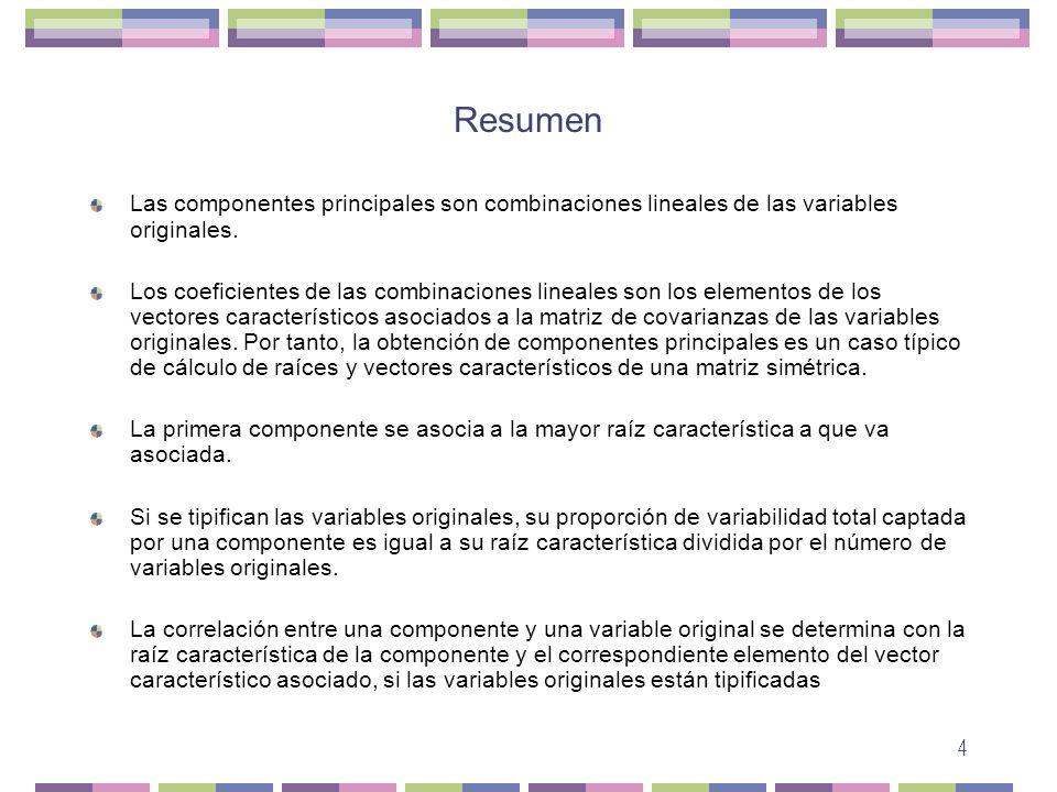 4 Resumen Las componentes principales son combinaciones lineales de las variables originales. Los coeficientes de las combinaciones lineales son los e
