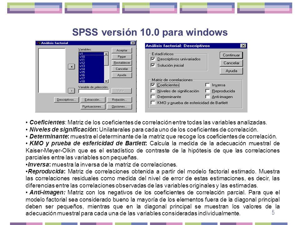 5 SPSS versión 10.0 para windows Coeficientes: Matriz de los coeficientes de correlación entre todas las variables analizadas. Niveles de significació