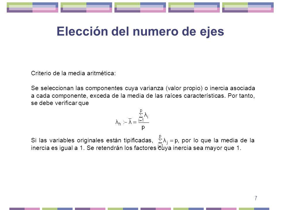 7 Elección del numero de ejes Criterio de la media aritmética: Se seleccionan las componentes cuya varianza (valor propio) o inercia asociada a cada c