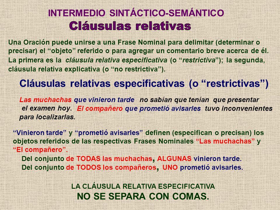 Cláusulas relativas especificativas (o restrictivas) INTERMEDIO SINTÁCTICO-SEMÁNTICO Una Oración puede unirse a una Frase Nominal para delimitar (dete
