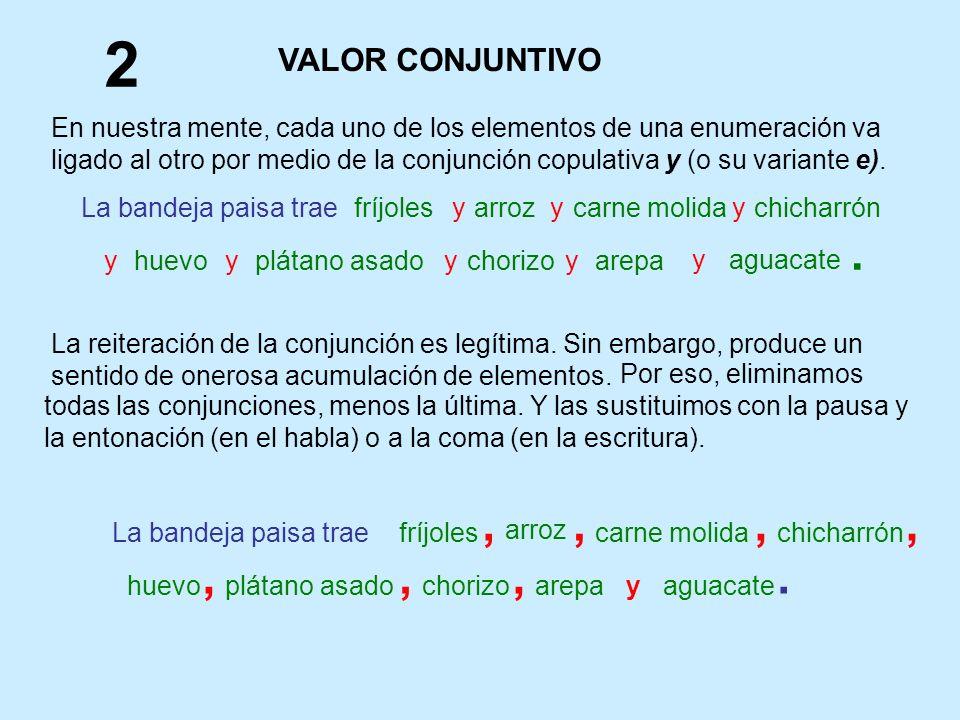 En nuestra mente, cada uno de los elementos de una enumeración va ligado al otro por medio de la conjunción copulativa y (o su variante e). fríjolesya
