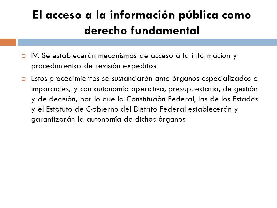 El acceso a la información pública como derecho fundamental IV.