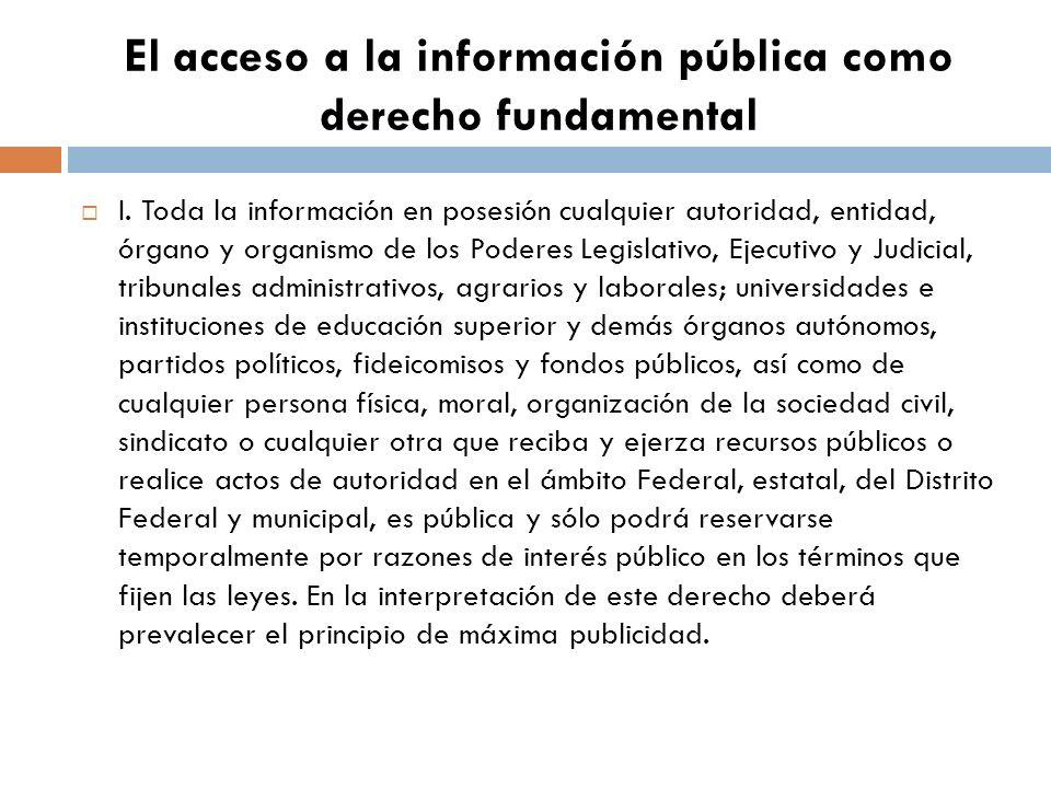 El acceso a la información pública como derecho fundamental I.